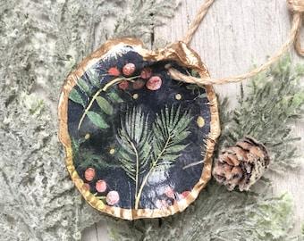 Oyster Shell Christmas Ornament, holiday greenery, Christmas gift, stocking stuffer, coastal living, Christmas tree, decoupage shell, beach