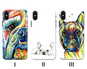 Bulldog iPhone Case XR X XS 11 Pro Max 7 Plus 8 6 12 mini SE 2020 Phone Case Plastic Silicone Cell Phone Cover dog breed  face  meme  animal