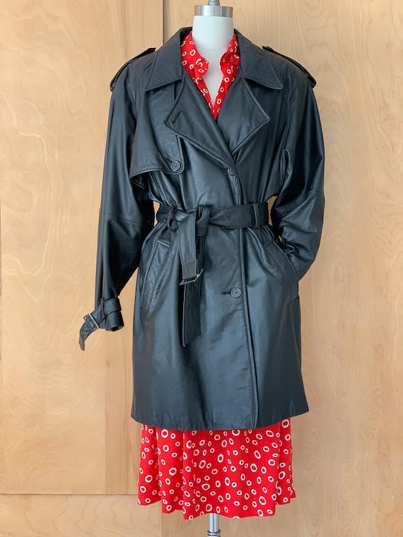 Vintage Black Leather oversized trench coat