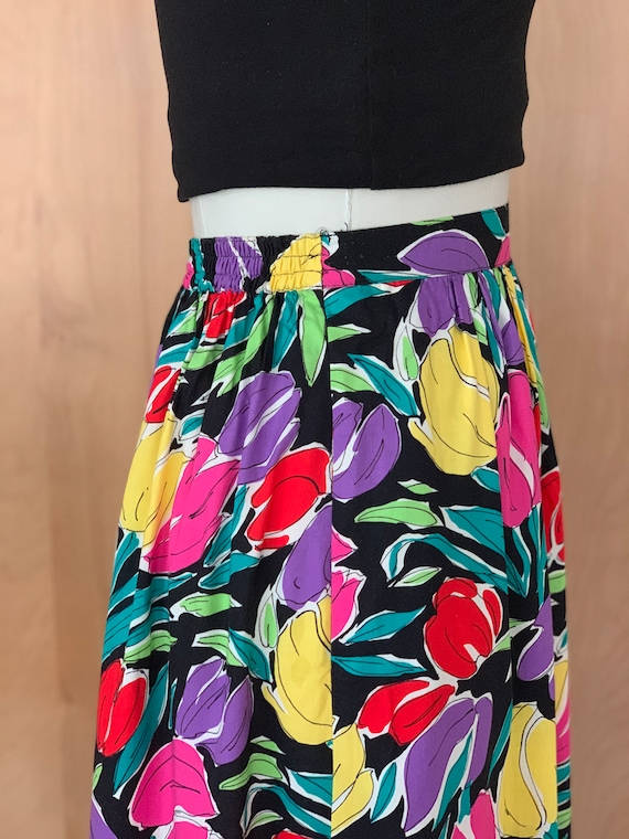 80s Bright Abstract TULIP print midi skirt - image 4