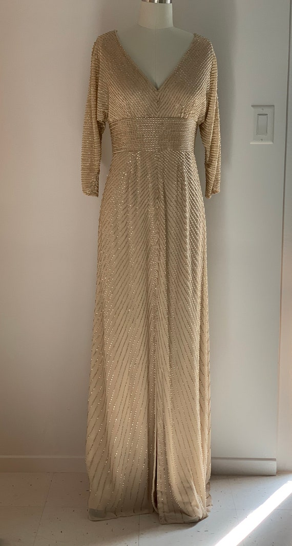 Vintage gold beaded dolman sleeve gown