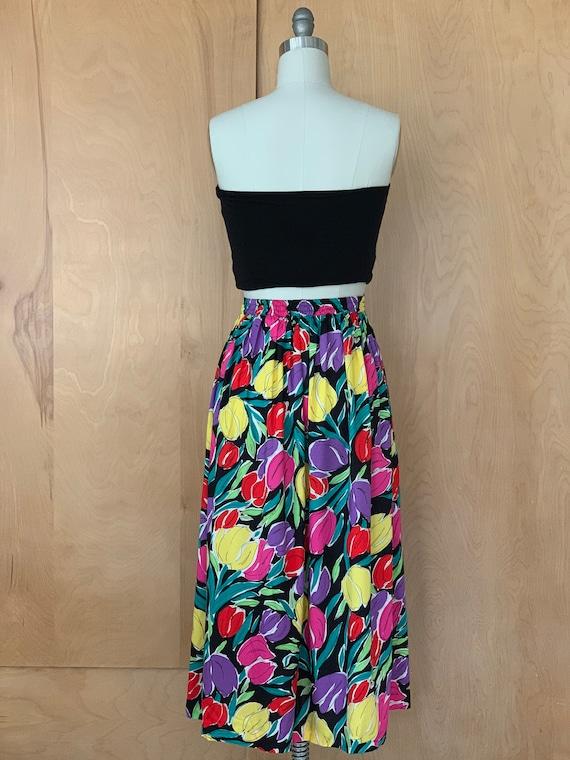 80s Bright Abstract TULIP print midi skirt - image 5