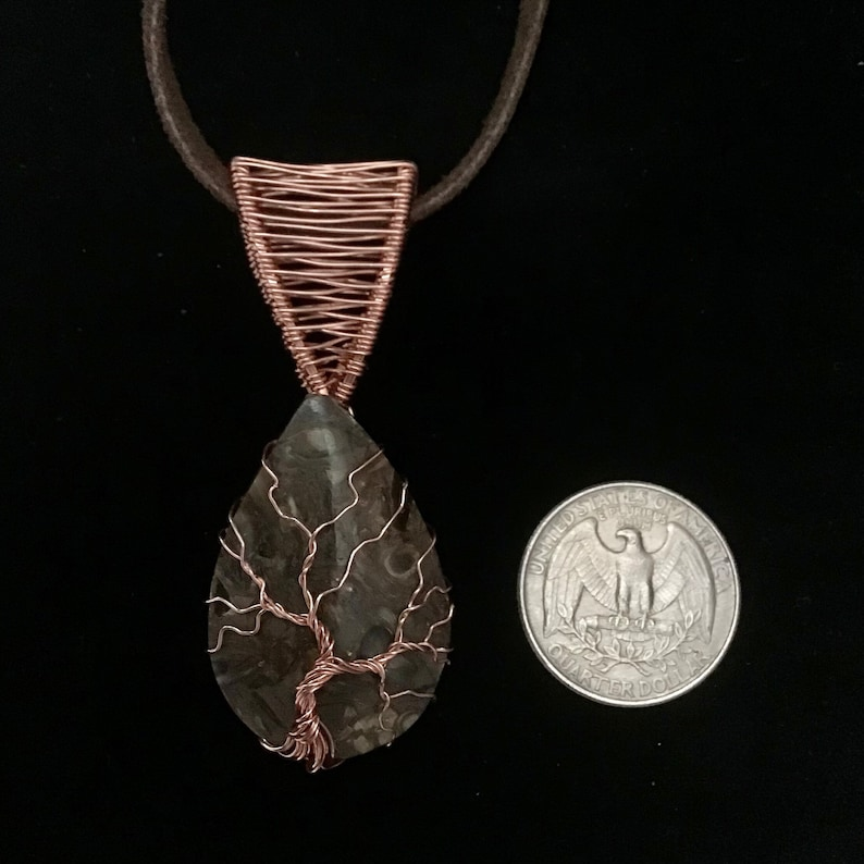 Bronzite Copper Wire Wrapped Handmade Tree Amulet Jewelry Necklace