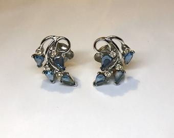 Vintage Kramer Blue and Clear Rhinestone Clip-on Earrings