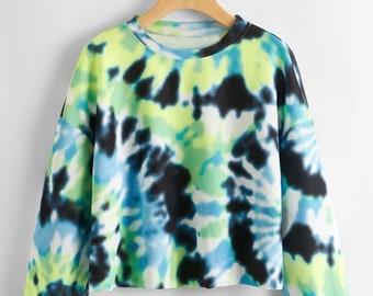 Drop Shoulder Spiral Tie Dye Pullover