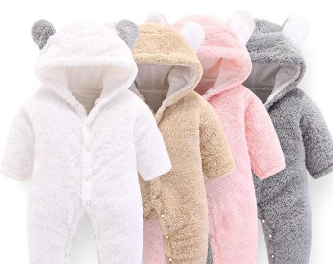 BABY INFANT BEAR Winter Fleece Hooded Jumpsuit