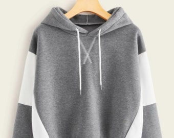 X Stitch Two Tone Drawstring Hoodie