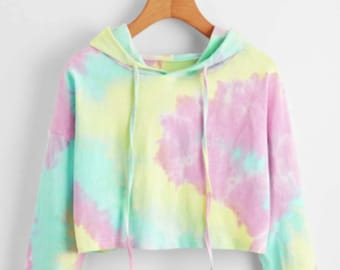 Tie Dye Crop Hooded Sweatshirt for Women, Hippie Flower Power Cropped Hoodie Sweatshirt, Abstract Minimal Womens Jumper, Aesthetic Hoodie