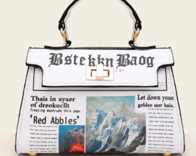 Newspaper Print Flap Satchel Bag