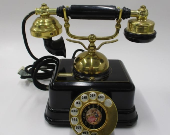 Vintage Black and Gold Rotary Phone