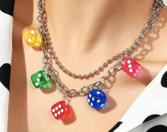 Dice Layered Chain Necklace | Rhinestone Lock Decor Layered Necklace