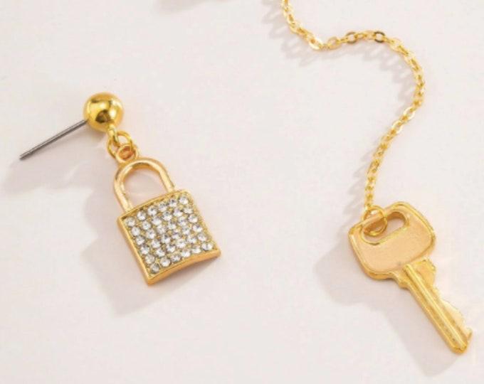 Rhinestone Lock & Key Drop Earrings