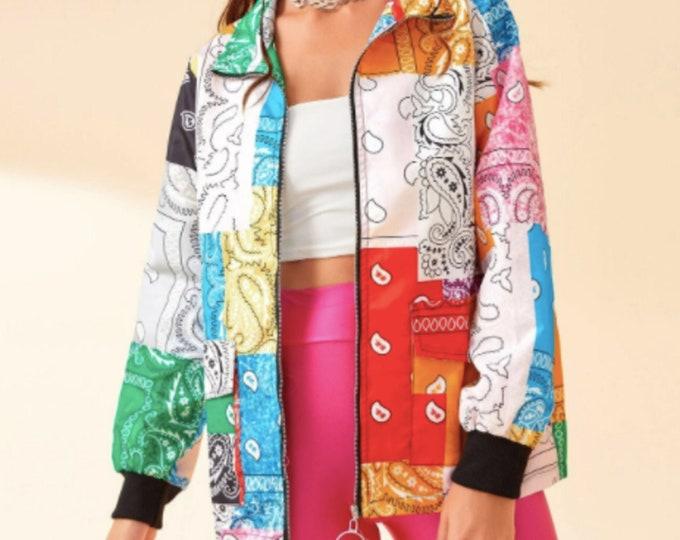 Bandana Patchwork Zip Jacket