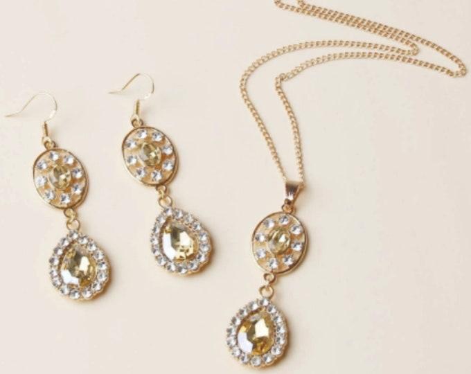 3pcs Rhinestone Water Drop Jewelry Set