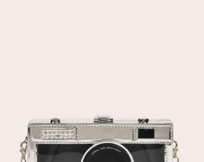 Camera Design Chain Crossbody Bag |  TRENDY CAMERA PURSE