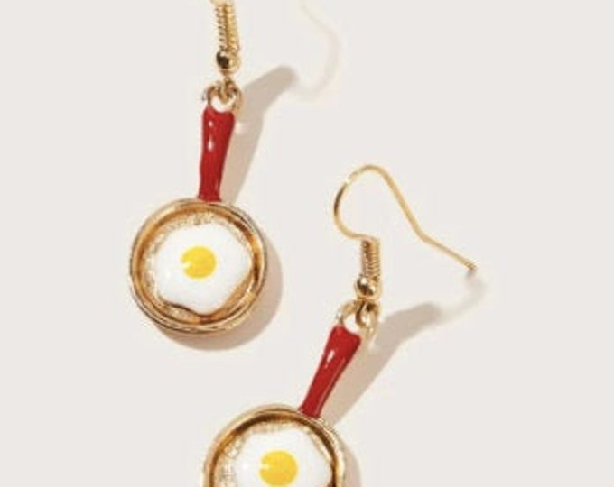 MINI DROP EARRINGS - Gold Color Earrings - Earrings For Cook - Pan Drop Earring - Egg Drop Dangle - Earrings For Women