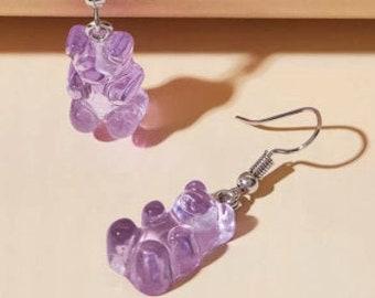 ANIMAL DROP EARRINGS - Bear Earrings - Purple Drop Earrings - High Quality Earring - Resin Drop Earrings - Unique Earrings