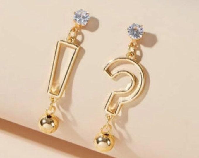 Punctuation Mismatched Drop Earrings