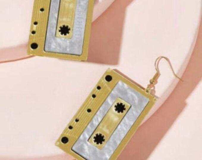 CASSETTE TAPE EARRINGS - Geometric Earrings - High Quality Earring - Unique Drop Earrings - Gold Color Earring