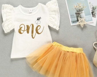 WHITE BABY SHIRT - Printed Baby Clothes - Shirt and Skirt Set - Short Sleeve Suit - Summer Baby Dress - 1st Birthday Gift