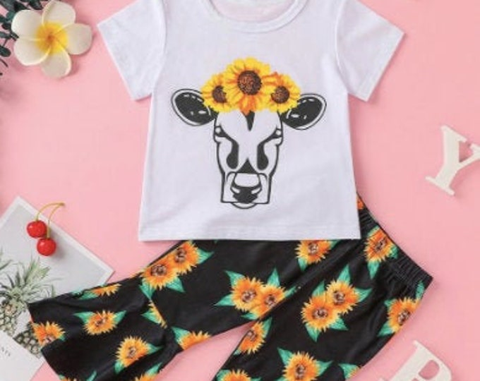 COW PRINT SHIRT - Baby Girl Clothes - Little Girl Shirt - Sunflower Shirt Girl -2 Piece Girl - Sunflower Pants Baby