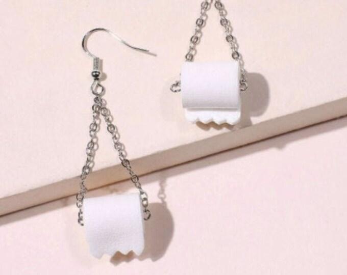 Toilet Paper Drop Earrings