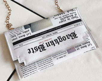 Newspaper Print Flap Chain Bag