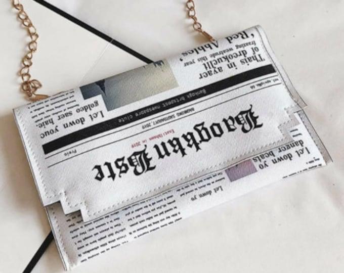 Newspaper Print Flap Chain Bag