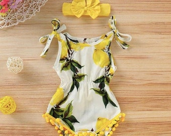 Baby Girl Lemon Overall Sleeveless Romper and Headband, Floral Baby Girl Summer Cotton Romper Jumpsuit Set, Baby Girl Clothes & Outfits