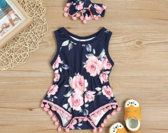 Pretty Floral Pattern Bodysuit and Headband Set for Toddler Girl