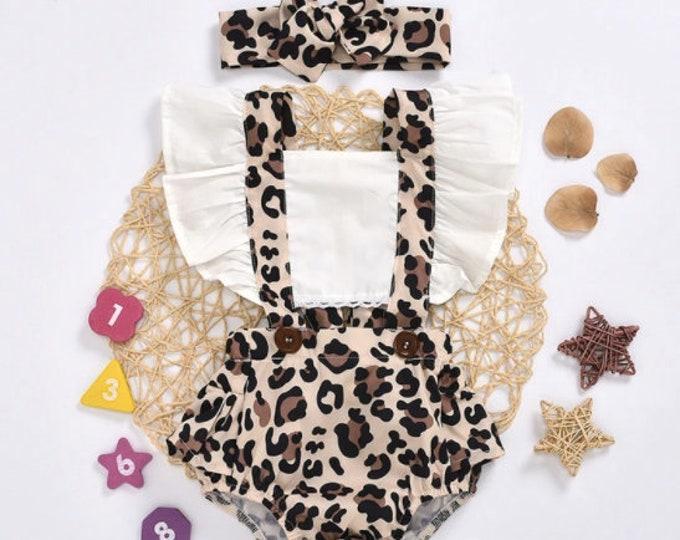 2-piece Leopard Pattern Bodysuit & Headband for Baby Girl