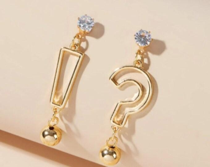 QUESTION MARK EARRINGS - Rhinestone Earrings - Mismatched Earrings - Trendy Drop Earrings Handmade Drop Dangle