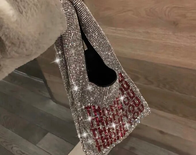 Mini Fashion Rhinestone Thank You Purse Handbag for Women, Womens Fashionable Bling Purse, Bedazzled Celebrity Stylish Handbag Pouch