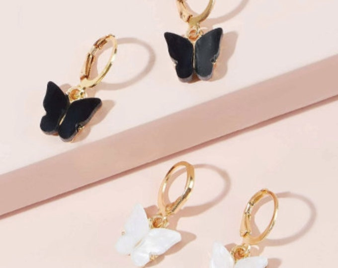 Butterfly Hoop Earrings Black and White