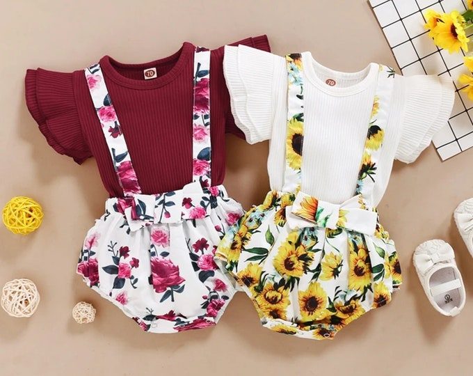 2-piece Solid Ruffle Tops & Floral Pants for Baby Girl