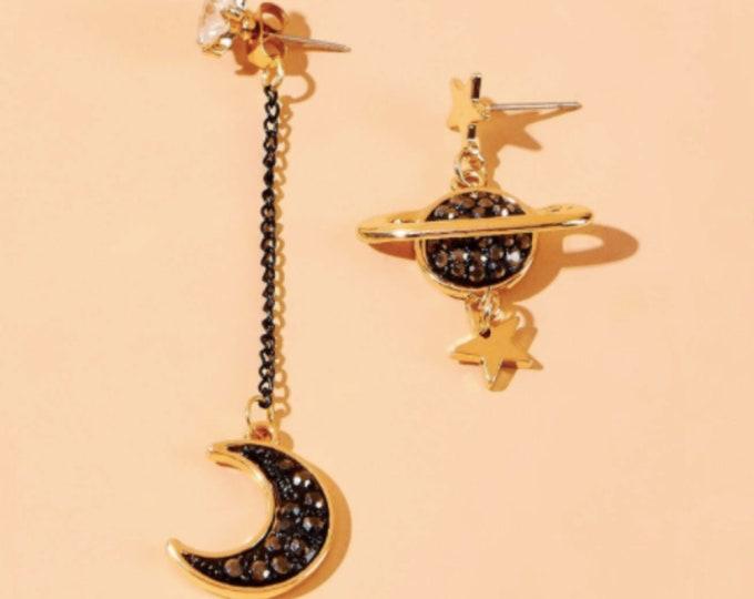 Rhinestone Moon Mismatched Drop Earrings