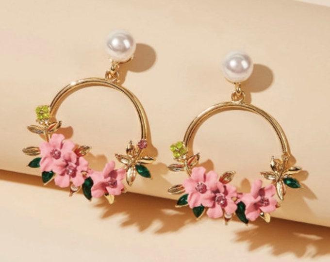 FLOWER DROP EARRINGS - Pearl Earrings Hoop - Hoop Drop Earrings - Resin Earrings Hoops - Circle Hoop Earrings