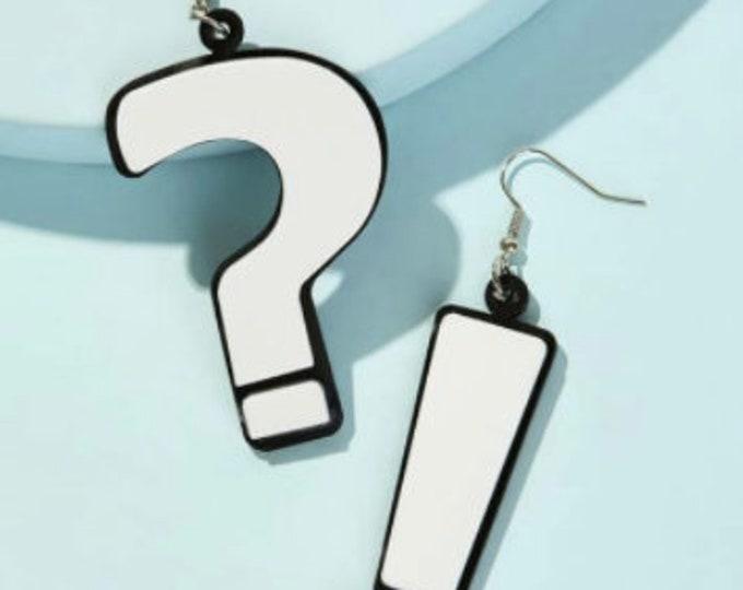 EXCLAMATION MARK EARRINGS - Rhinestone Earrings - Question Mark Dangle - Geometric Earrings - Casual Wear Earrings