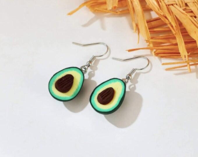 GREEN DROP EARRINGS - Alloy Earrings - Avocado Drop Earring - Pear Shape Earrings - Fruit Earring Dangle - Cute Drop Dangle