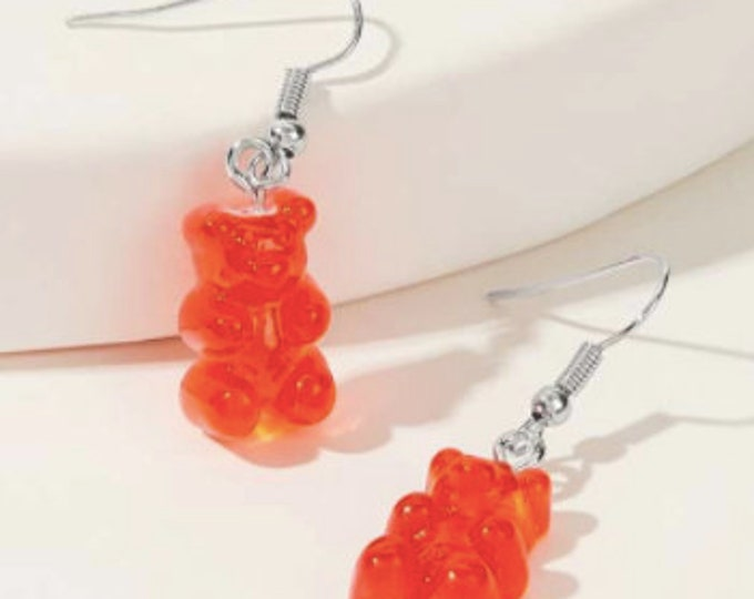 RED DROP EARRINGS - Bear Earrings - Animal Drop Earrings - Bear Lover Gift - Resin Drop Earrings - Silver Color Earring