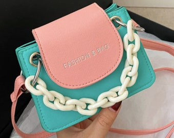 Mini Colorblock Chain Satchel Bag
