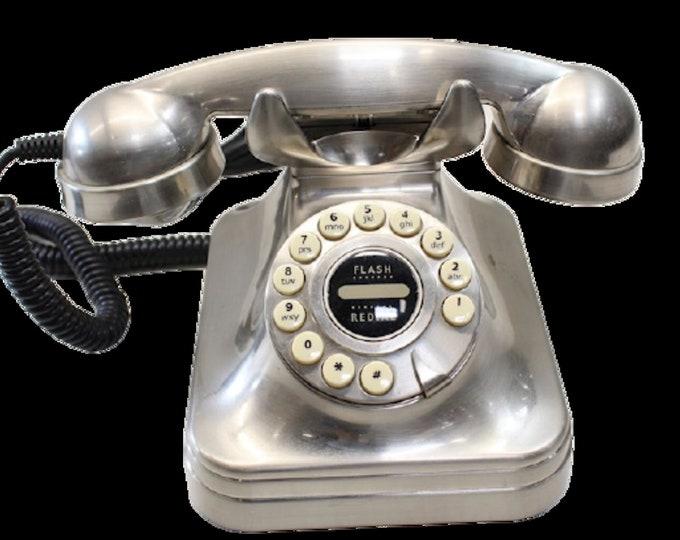 Vintage Brushed Metal Polyconcept Grand Phone Retro    Vintage Red Land Line Desk Telephone LM