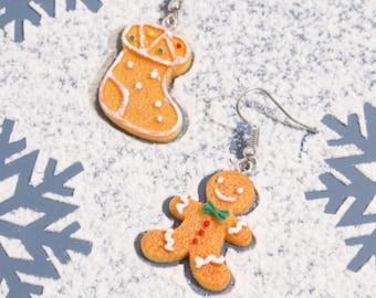 Christmas Gingerbread Man Drop Earrings