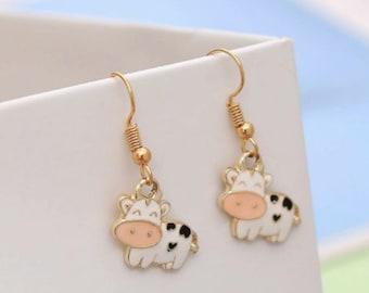 Cow & Pig Drop Earrings