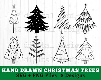Christmas Clipart Png And Svg Hand Drawn Christmas Doodle Etsy