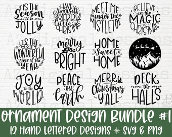 Christmas ornament svg bundle #1 hand lettered   Christmas svg   believe svg   christmas cut file   christmas scene svg   round ornament svg