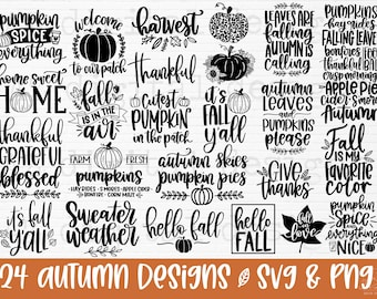 Fall svg   Fall svg bundle hand lettered   autumn svg   thanksgiving svg   hello fall svg   pumpkin svg   fall shirt svg   fall sign svg png