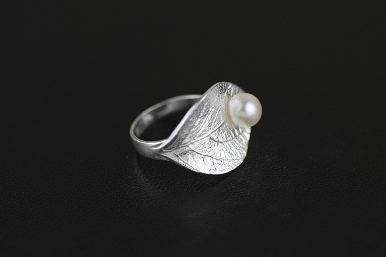 handmade jewelry rings for women silver ring Leaf ring Sterling silver ring gift Pearl ring gemstone ring leaf ring sterling silver