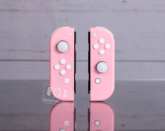 Custom Nintendo Switch Joy-Con Controllers Pink with White Buttons