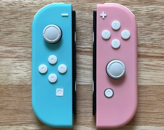 Switch Joy-Con Custom Nintendo Controllers Robin Egg Blue and Pink with White Buttons